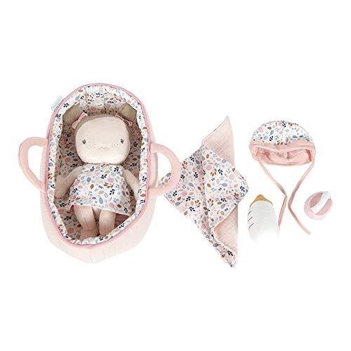Little Dutch 4528 Stoffpuppe Babypuppe Rosa mit Tragekorb und Zubehör, ab 0 Monaten