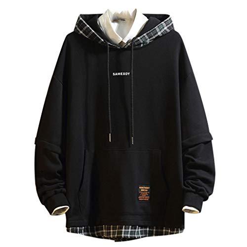Xmiral Kapuzenpullover Herren Karo Patchwork Fake Zweiteilig Pullover Hoodie Sweatshirts mit Kapuze Cross-Over-Kragen Und Fleece-Innenseite(Schwarz,L)