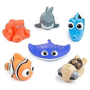 Juguetes de Baño Flotante con Organizador de Juguetes de Baño, Dieallles Shine 6PCS Animales Marinos Juguetes bañera Bebe para niños