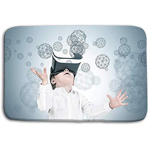 N/A Küche Boden Badteppiche Teppich Süßer Kleiner Junge vr Brille Polygone Süßer Kleiner Junge Weiße Jeans mit vr Brille Blick nach Oben Grau 50x80CM