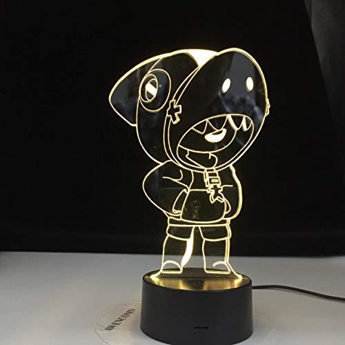 Personaje del juego 3D luz nocturna LED color multicolor acrílico USB lámpara de mesa decoración regalo de la habitación de los niños