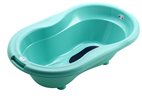 Rotho Babydesign TOP Badewanne, Mit Antirutschmatte und Ablaufstöpsel, 0-12 Monate, TOP, Curacao Blue (Grün-Blau), 200010235
