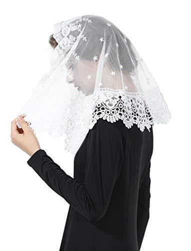 Mantilla De Encaje Española Mujer Capilla Velo Pañuelo de Iglesia Católica Bordado Chal Bufanda Negra Blanca V105