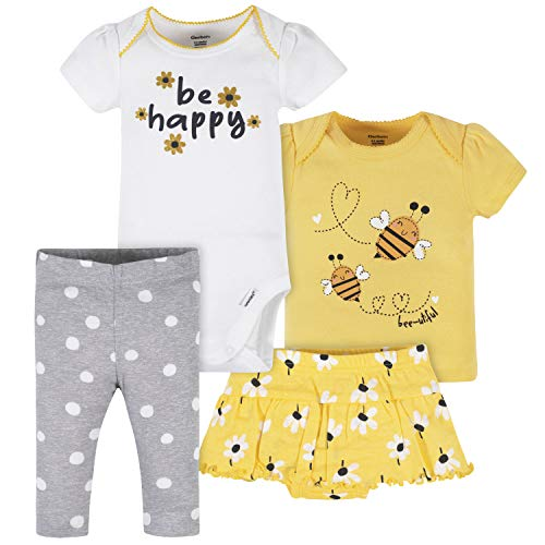 Gerber Baby Girls' Toddler 4-Piece Shirt, Skirted Panty and Pant Set, Yellow Daisies Onesie, 0-3 Months