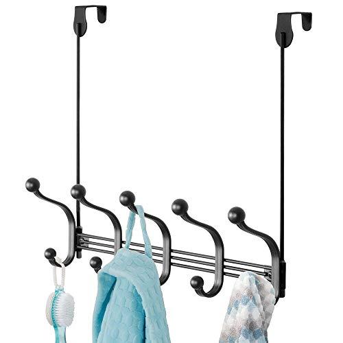 mDesign Práctico perchero metálico – Perchero de pared con 10 ganchos para la cocina, el pasillo o el baño – Perchero con ganchos para colgar abrigos, chaquetas, bufandas y toallas – negro