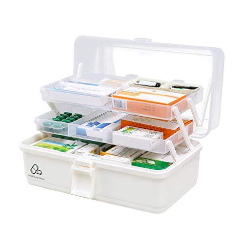 HRS 救急箱 薬箱 薬ケース お薬 箱 収納ケース 応急ボックス 収納ボックス 薬収納 3段式 取っ手付き 持ち運びしやすい おしゃれ 大容量 (M, ホワイト)