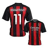 3R Ibra Ibrahimovic - Camiseta Milan 2020-2021 para adulto, rojo y negro, 6