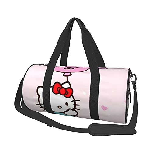 Dibujos animados Hello Kitty multifuncional con cremallera para mujeres y hombres bolso de hombro redondo bolso de deporte bolsa de compras bolsa de gimnasio bolsa de viaje