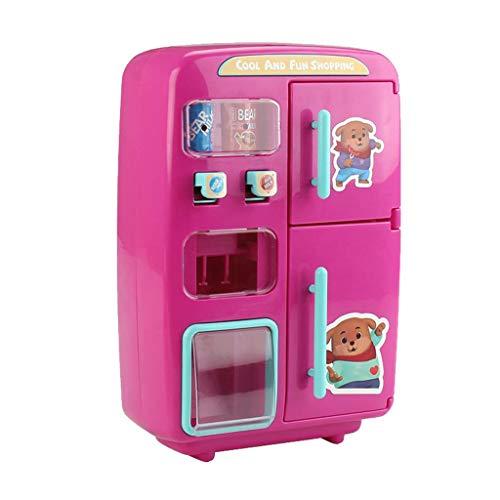 MagiDeal 30-teilige Elektrische Kunststoff Kühlschrank Automaten Spielzeug für Kinder Küche Rollenspiel, mit Doppeltür Nebel Funktion - Pink