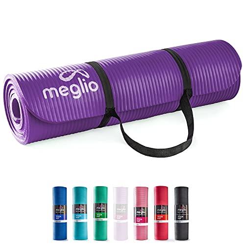 MEGLIO Tapis Yoga, Tapis Exercise Multi-usages NBR 10mm pour Fitness, Pilates, Gymnastique, Méditation, Entraînement de Base, Étirements et Sport à Domicile, pour Homme et Femme, avec Sangle Offerte