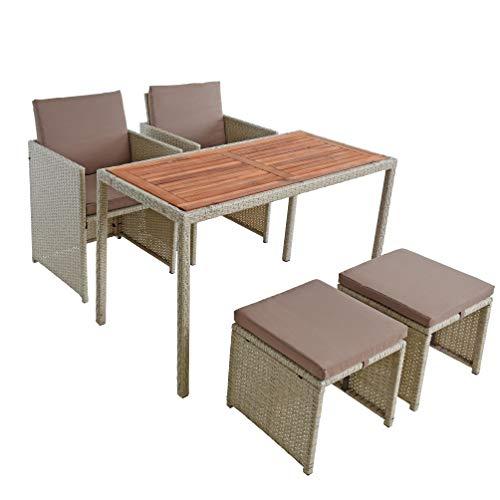 ESTEXO Polyrattan Sitzgruppe Gartenmöbel Set Essgruppe Gartenset Rattanmöbel Rattan Set Hocker Gartenstühle Gartentisch (4 Personen/Beige)