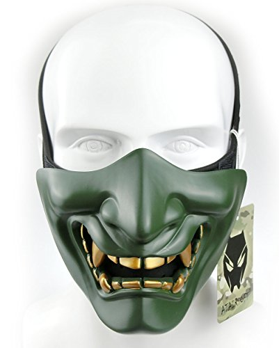 ATAIRSOFT Media mascarilla Táctico Protector Paintball Disfraz de Halloween de plástico Airsoft Cosplay BB Evil Demon Monster Mask (OD Verde)