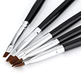 Sylvialuca 5 tamaños de acrílico Profesional Nail Art Brush Set Uso UV Gel Builder Nal Brushes con Color Negro y Plateado