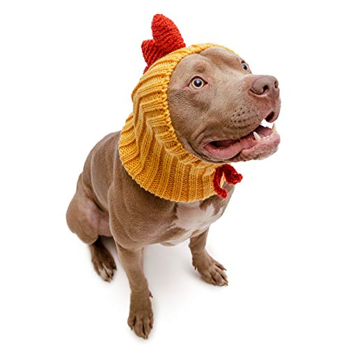 Zoo Snoods Rooster Chicken Dog Costume - No Flap Ear Wrap Hood (Large)