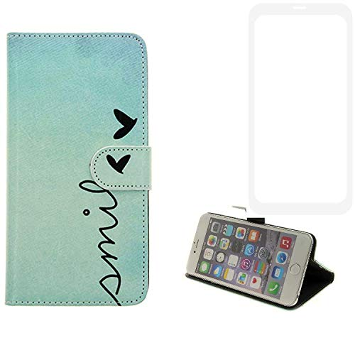 K-S-Trade® Schutzhülle Für Vestel V3 5580 Dual-SIM Hülle Wallet Case Flip Cover Tasche Bookstyle Etui Handyhülle ''Smile'' Türkis Standfunktion Kameraschutz (1Stk)