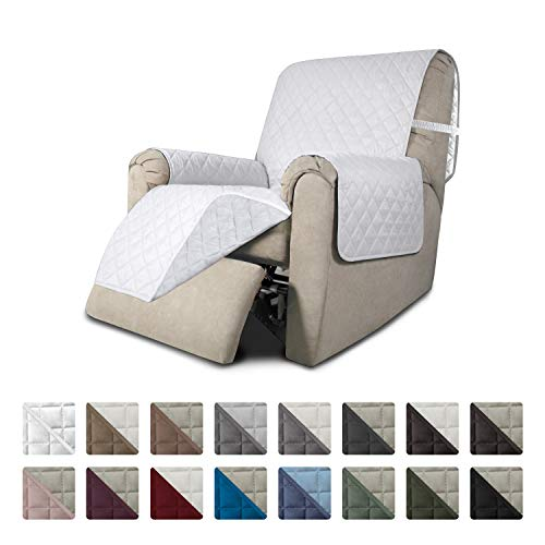 Easy-Going Recliner Sofa Slipcover Reversible Sofa Cover Furniture Protector Couch Cover Water Resistant Elastic Straps PetsKidsDogCat(Recliner,White/White)