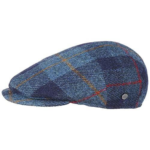Lierys Capri Harris Tweed Flatcap Schirmmütze Wollcap Cap Mütze Kappe Schiebermütze Herren - Made in Italy Wintercap mit Schirm, Futter Herbst-Winter - 59 cm blau