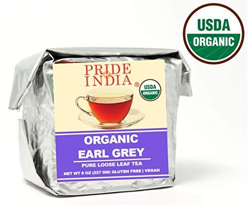 Pride Of India - Organic Earl Grey Premium Tea, Half Pound (8oz) Full Leaf - Maakt 80-100 kopjes - Geteeld in de Himalaya - Zwarte thee met Bergamont & Vanille - Rustgevende smaak en verkwikkend aroma