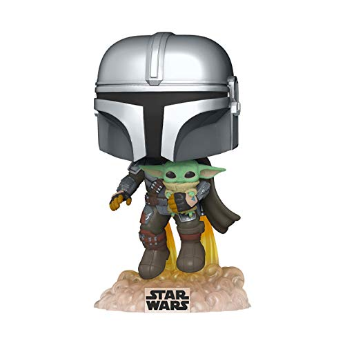 Funko- Pop Star Wars The Mandalorian-Mando Flying w/Jet Pack Figura coleccionable, Multicolor (50959)