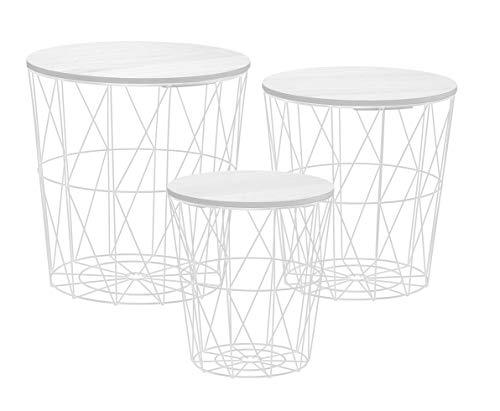 Metall Beistelltisch mit Stauraum weiß - 3er Set - Wohnzimmer Tisch mit Abnehmbarer Holz Platte Metallkorb Sofatisch Couchtisch