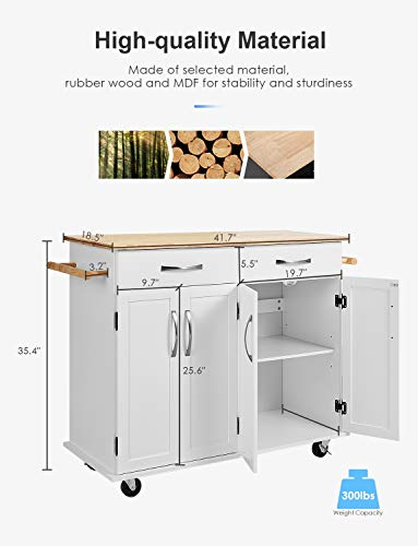 kealive Kitchen Island on Wheels Rolling Kitchen Island Cart with Storage, Handle Rack Rubber Wood Top Cabinet, White, 48.2L x 18.5W x 35.4H