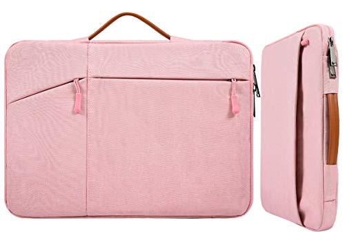 13 Inch Waterproof Laptop Briefcase Women Ladies Carrying Bag for New Macbook Pro 13 A2338, Surface Laptop 3/Book 3, Acer Aspire R13, Dell Inspiron 13 5000 7000, Lenovo 720 730 13.3 Sleeve Bag, Pink