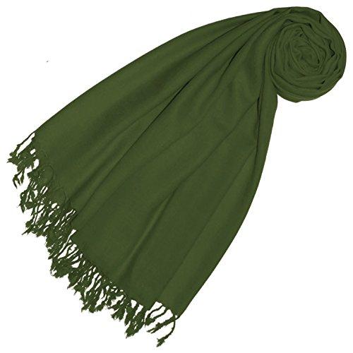 Lorenzo Cana Premium Pashmina Damen Schal Schaltuch 50% Kaschmir 50% Wolle Damenstola Tuch Umschlagtuch Uni Grün Fransenschal Tuch fuer Frauen einfarbig Mittelgrün 78527
