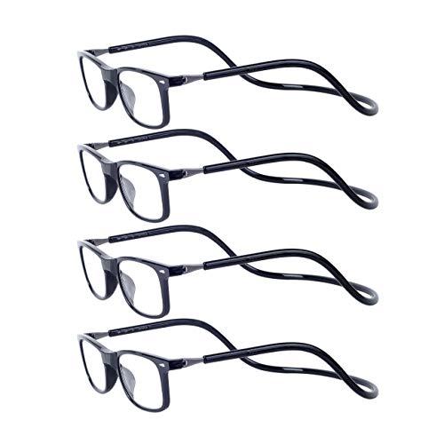 Magnéticas Gafas de lectura Plegables 4-Pack Negro +2.5 Presbicia Vista para Hombre y Mujer Montura Regulable Colgar del Cuello y Cierre con Imán +2.5(60-64 años)