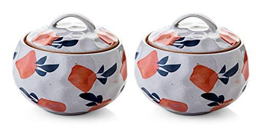 PULLEY Cuenco de sopa miso de cerámica de estilo japonés, pequeño estofado con tapa, taza de huevo al vapor para la cocina del hogar, postre, cuencos de sopa de cebolla francesa (tamaño : 2 unidades)