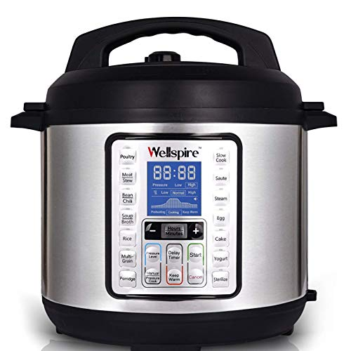 Wellspire Multi Cooking Pot Smart Electric Pressure Cooker (6 litres) with Instant 14-1 Single-Touch Functions and 7 Free Accesories