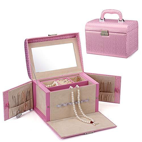 Cas cosmétique Cas De Stockage De Bijoux De Femmes for Ranger De Petits Objets Poignée De Tiroir en Cuir Multicouche Cas cosmétique Voyage Portable (Color : Pink)
