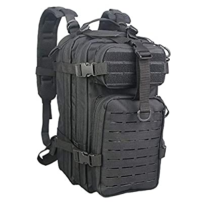Fox Tactical Small Assault Backpack Military Backpack Tactical Bag for Outdoor, Hiking, Camping Travel (Black)