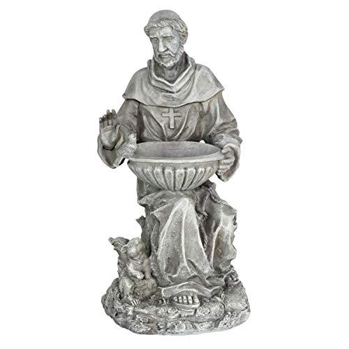 "Exhart St. Francis of Assisi Garden Statue - Durable Resin Statue of Saint Francis w/Bird Bath Bowl - Christian Yard Decor, Resin Christian Statues, Garden Art Decorations, 19"" -  16668-RS"