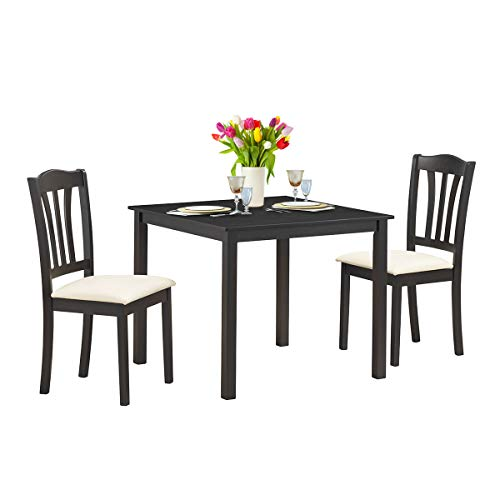 Giantex 3 Pcs Dining Table Set with 2 Upholstered Chairs Wood Dining Kitchen Table Set, Home Furniture Set (Coffee & Beige)