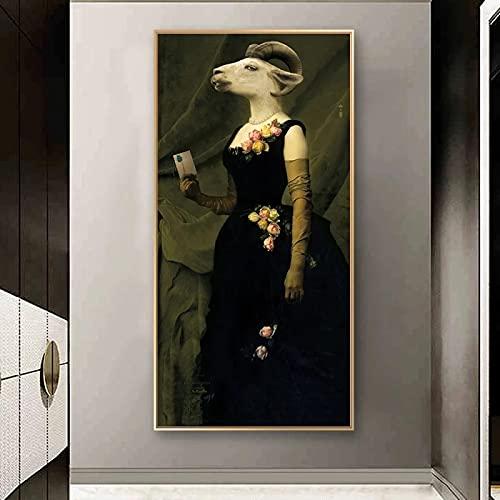 Condesa de cabras Carteles e impresiones vintage Animales en un traje Pinturas en lienzo Arte de la pared Cuadro en lienzo Decoración nórdica para el hogar 40x90cm (16x35in) Sin marco