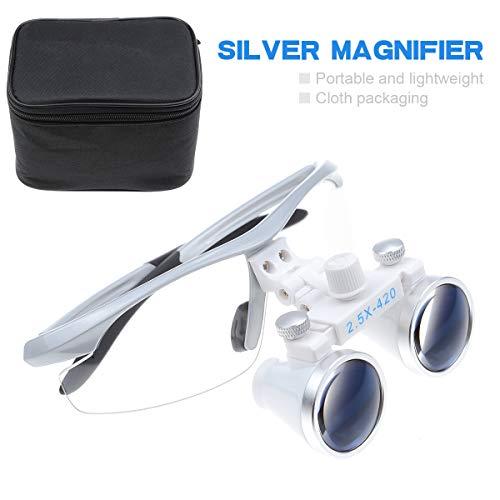 MIke Dental 2 .5X 420mm chirurgisch verrekijker touwen bril lens vergrootglas (zilver)