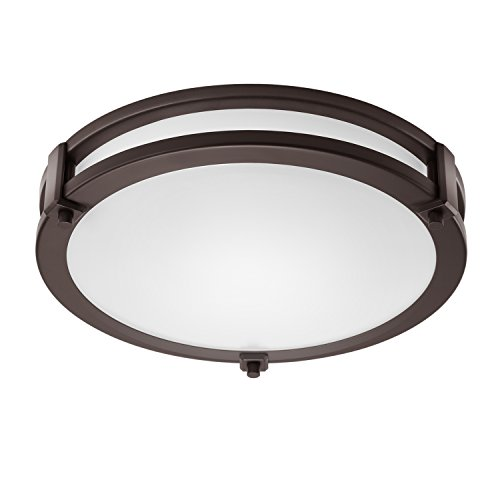 GetInLight LED Flush Mount Ceiling Light, 14-Inch, 20W(100W Equivalent), Bronze Finish, 4000K(Bright White), Dimmable, Round, Dry Location Rated, ETL Listed, IN-0307-2-BZ-40