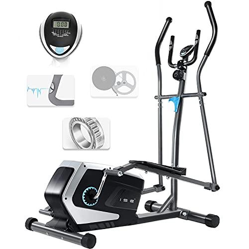 ISE Bicicleta Elíptica Profesional de Fitness para Casa con Sensor de Pulso,8 Niveles de Resistencia, LCD Pantalla, Ajustable Máquina Elíptica de Gimnasio Ejercicio con 8KG Volante de Inercia, SY-9801