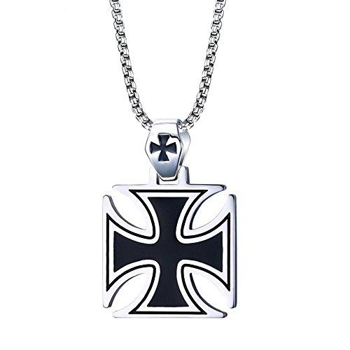 BOBIJOO Jewelry - Pendentif Homme Croix Pattée Noire Acier Templier Malte Biker Triker + Chaîne