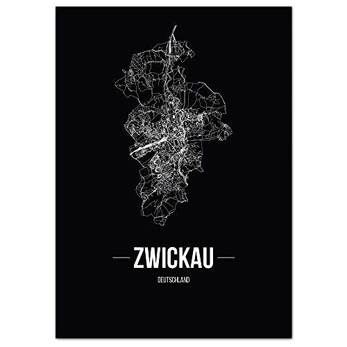 JUNIWORDS Stadtposter, Zwickau, Wähle eine Größe, 60 x 90 cm, Poster, Schrift B, Schwarz