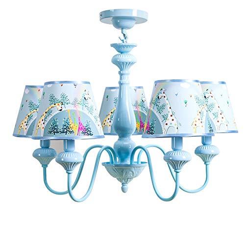 Hangende plafondlamp kind 5 spots kroonluchter design lampenkap van blauw gedecoreerd met leuke giraffe voor babykamer meisjes jongen E14 * 5 Ø60 cm * 45 cm [Energy Class A ++]