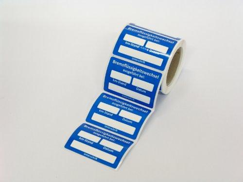 Stickerla Kundendienst Aufkleber Serviceaufkleber Inspektionsaufkleber (50 Stück, Bremsflüssigkeitswechsel ausgeführt bei)