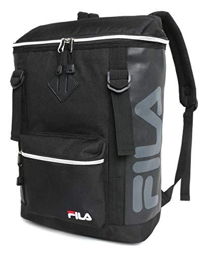 [フィラ] リュック ボックス スクエア 型 ブランド ロゴ PC収納 柄B(ブラック/ブラックロゴ/シルバージップ) 縦38cm×横26cm×マチ14cm(A4対応)