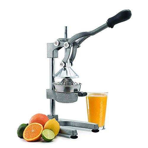 Manual Fruit Juicer - Commercial Grade Home Citrus Lever Squeezer for Oranges, Lemons, Limes, Grapefruits and More - Stainless Steel and Cast Iron - Non-skid Suction Cup Base - 15 Inch - by Vollum