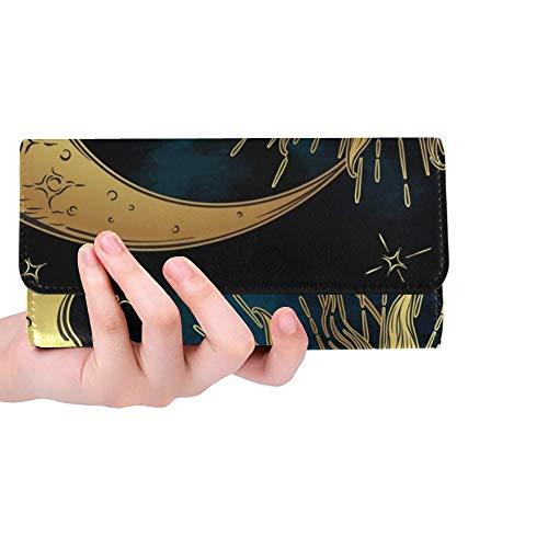 Einzigartige benutzerdefinierte antiken Stil handgezeichnete Kunst goldene Frauen Trifold Brieftasche Lange geldbörse kreditkarteninhaber Fall Handtasche