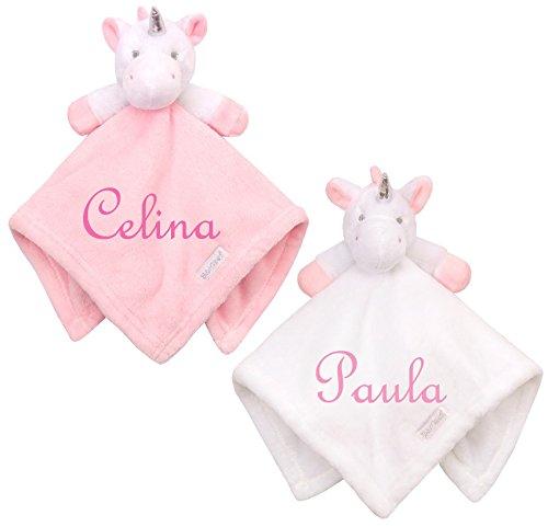*Wuff-Dogsworld Baby Kuscheltuch Einhorn mit Namen Bestickt Taufe Geburt Geschenk (rosa)*