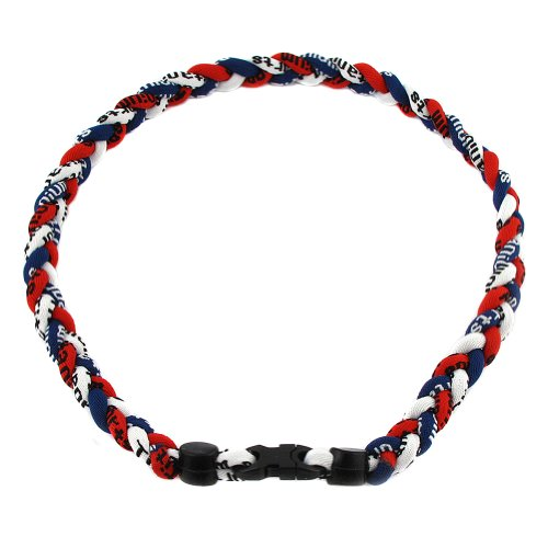 """MapofBeauty 18"""" Sport Three Colors Three Braided Rope Tornado Necklace (Dark Blue/Red/White)"""