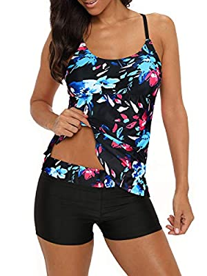 Century Star Women's Tummy Control Swimwear Paisley Printed Tankini Swimsuit with Boyshorts Two Piece Bathing Suit Floral Black 2XL (fits like US 12-14)