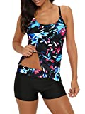 Century Star Women's Tummy Control Swimwear Paisley Printed Tankini Swimsuit with Boyshorts Two Piece Bathing Suit Black Floral Printed X-Large fits Like US 8-10