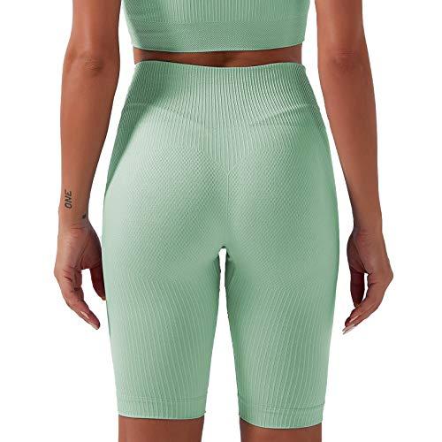 AOZLOVEC Pantalones de mujer Pantalones de yoga sin costuras Cintura alta Ropa de yoga de secado rápido Medias de fitness Yoga Running Athletic Gym M GN